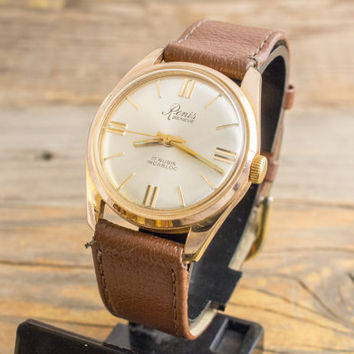 Vintage Renis mens watch, elegant gold plated vintage swiss watch, Renis Geneve