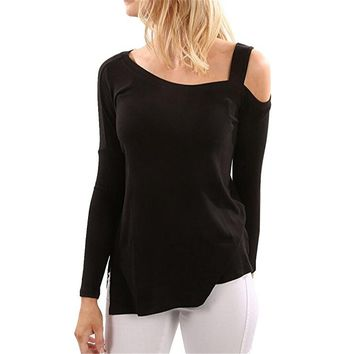 Women's Long Sleeve Cold Shoulder T Shirt Split Flowy Tunic Tops