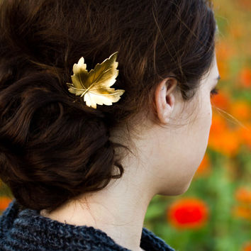 Gold Sycamore Leaf Hair Pin Sycamore Leaf Bobby Pin Fall Hair Pin Woodland Hair Accessory Bridal Hair Clips