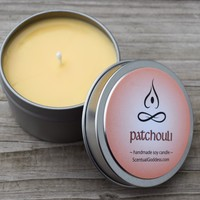 PATCHOULI CANDLE - Retro 70's Hippie Patchouli Earthy Scented Soy Candle - Zen Meditation