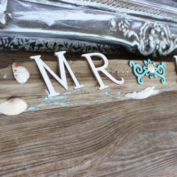 Coastal/Beach Wedding Natural Driftwood Mr &Mrs Sign , One of a kind Reception Decoration