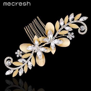 Crystal Leaf Bridal Hair Combs Gold Color Wedding Hair Jewelry Accessories