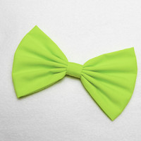 Hair Bow Clip - Neon Green
