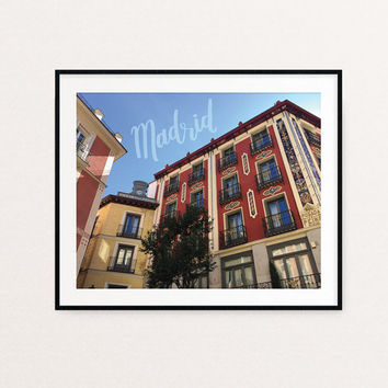 Madrid Architecture Calligraphy Art Print | Madrid print, Madrid skyline, Madrid art, Spain, Spain print, Colorful wall art, lettering print
