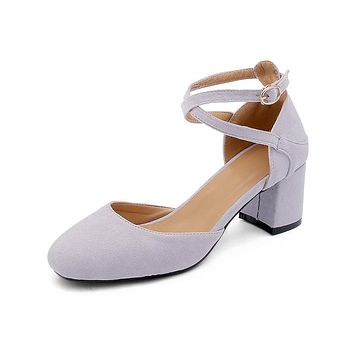 Square Toe Ankle Strap Mid Heel Sandals Summer Shoes 4390