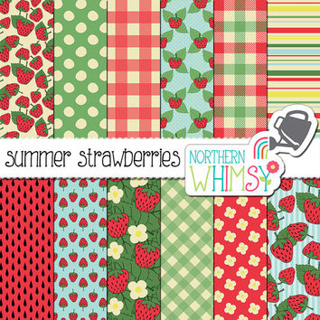 Strawberries Digital Paper - strawberry, gingham, and flower patterns in red, green, and blue - summer scrapbook paper - commercial use