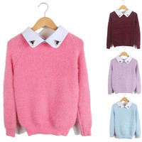 Free shipping2014 fall and winter clothes new Korean fake two shirt collar knit sweater beaded applique blouses