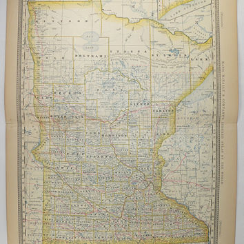 1881 Rand McNally Minnesota Map, Vintage MN Map, Minnesota Gift for Husband Birthday Guy Gift, Antique Map Office Decor Gift for Coworker