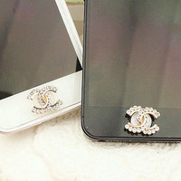 1PC rhinestone /Bling Crystal Frame iPhone Home Button Sticker for iPhone 4,4s,4g, 5 & iPad, Phone Charm