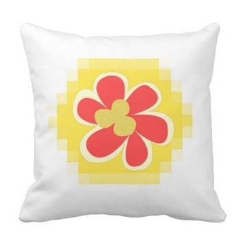 Mosaic Hexagon Flower Design Pillow