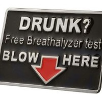 Buckle Rage Adult Mens Drunk Free Breathalyzer Test Blow Humor Belt Buckle Black