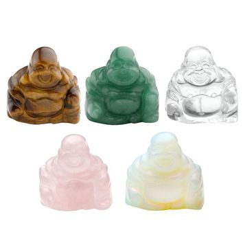 "1x 1.2"" Carved Crystal Gemstone Buddha Figures Statue Home Office Decor Ornament Laughing Buddha Sculpture 5 Color With Gift Box"