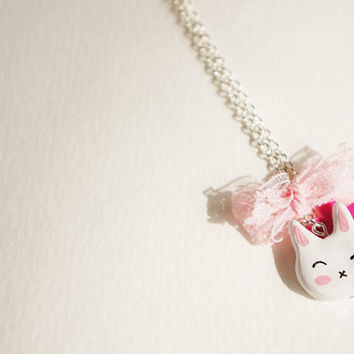Usagi Necklace // bunny rabbit kawaii polymer clay necklace -- fairy-tale inspired accessories