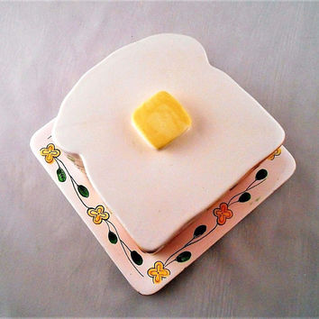Vintage Ceramic Toast Warmer Serving Plate/ Tray/ Dish with Lid Country Kitchen