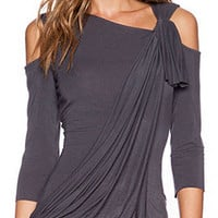 Gray Asymmetric Neck Cold Shoulder Twist Ruched Blouse