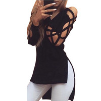 T Shirt Women Fashion Autumn Women Tops Sexy Deep V Neck Criss Cross Long Sleeve Tee Shirts Plus Size