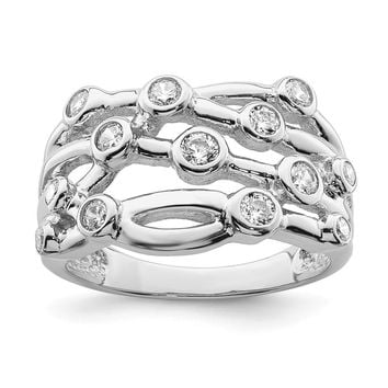 925 Sterling Silver Rhodium-plated Polished Cubic Zirconia Criss Cross Ring