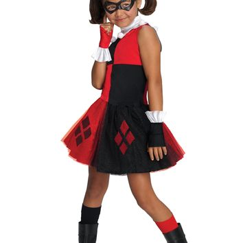 Rubies DC Super Villain Collection Harley Quinn Girls Costume with Tutu Dress Medium