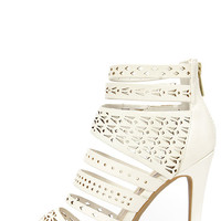 Lacy-like Behavior White Perforated Caged Heels