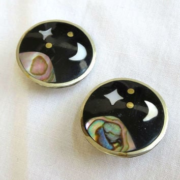 Vintage Mexico Alpaca Silver MOP Mother of Pearl and Abalone Earth, Moon & Star Earrings