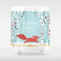 Adventure Awaits Shower Curtain by Freeminds