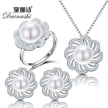 Dainashi new freshwater pearl jewelry sets with pearl necklace pearl  adjustable rings pearl earrings of 925 32a58ef67ea4