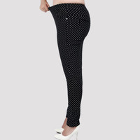 2016 Fashion Big size 6XL Pants for women  Full-length Little Dot Pattern Women Pants Fat MM Pencil Pants Clothes For Female