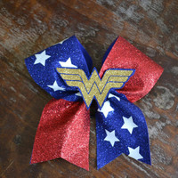 Wonder woman Cheer Bow / Superhero Bow with 3D image