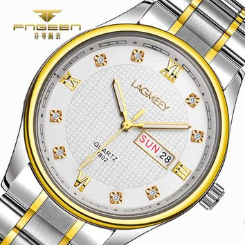 LAGMEEY Brand Men Watches 2017 Top Luxury Diamond Quartz Watch Mens Stainless Steel Watch Automatic Calendar Week Wristwatch