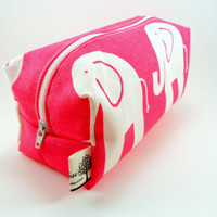 Pink Elephant Makeup Bag, Zippered Cosmetic Pouch, On The  Go, Under 10, Travel Size, On The Go, Boxy Pouch, Heavyweight, Pencil Case