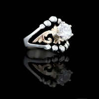 Decorative Cat's Eye Solitaire Ring - Hyo Silver
