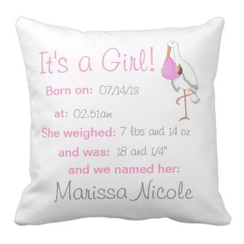 """Little Stork"" It's a Girl! Keepsake Pillow"