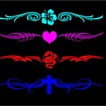 Windshield Banner decal Back window banner decal Vinyl Decal Car Decal Truck Decal window decal Heart Dragon Flower Cross custom banner