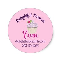 Pink Frosted Cupcake Yum! Business Classic Round Sticker
