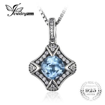 JewelryPalace Retro 2.2ct Natural Sky Blue Topaz Pendant Necklaces Genuine 925 Sterling Silver 45cm Box Chain Choker Necklaces