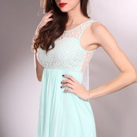 Mint Multi Sleeveless Scoop Neck Crochet Decor Fashionable Dress @ Amiclubwear sexy dresses,sexy dress,prom dress,summer dress,spring dress,prom gowns,teens dresses,sexy party wear,women's cocktail dresses,ball dresses,sun dresses,trendy dresses,sweater d