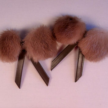 1950's Mink Shoe Clips, Brown Faux Leather Bows, Vintage Shoe Jewelry