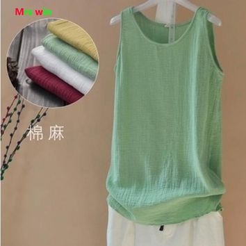 2017 Summer Women Tank Top Casual sleeveless top Linen Cotton Loose Women Tanks Soft Long O Neck Conforatble Vest blusas halter