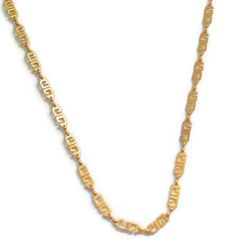 Givenchy Gold Tone G Logo Chain Link Necklace, Vintage Signed Designer Jewelry