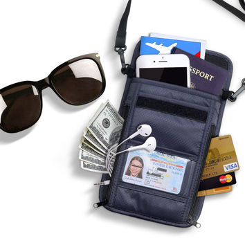 KCASA KC-PB16 Travel Passport Holder RFID Blocking Storage Bag Waterproof Neck Wallet Organizer