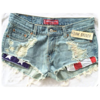 Distressed American flag pocket shorts.