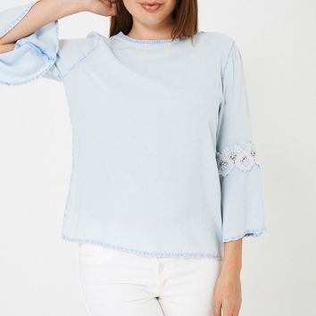 Top with Fluted Lace Sleeve Ex Brand