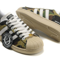 """Fashion """"Adidas"""" Shell-toe Flats Sneakers Sport Shell-toe print camouflage Shoes Camouflage green"""