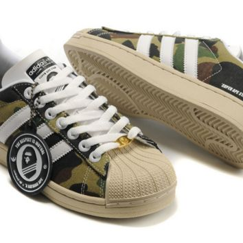 "Fashion ""Adidas"" Shell-toe Flats Sneakers Sport Shell-toe print camouflage Shoes Camouflage green"