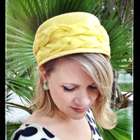 Yellow Hat, 1960's, Woven with Braided Fabric, Pillbox