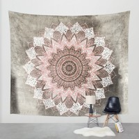 BOHOCHIC MANDALA IN CORAL Wall Tapestry by Nika | Society6