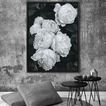 CREAM ENGLISH ROSES Canvas Painting Flowers Wall Art Poster and Print Texture Picture for Living Room Wall Decoration Home Decor