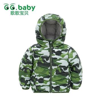 Winter Camo Jacket For Boy Baby Clothes Down Jackets For Girls Coat Boys Long Sleeve Cotton Warm Baby Clothing Coveralls Outfits