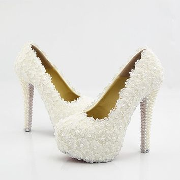 Flowers Beads Round Toe Low Cut Stiletto High Heel Bridal Shoes