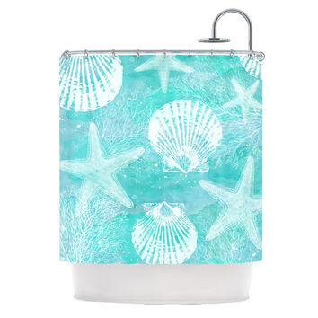 "Sylvia Cook ""Seaside"" Blue Teal Shower Curtain"